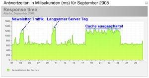 Antwortzeiten des Servers in Milisekunden