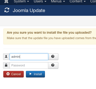Joomla! Updater FTP Funktion