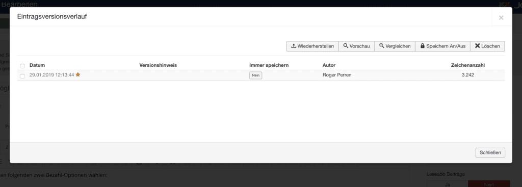 Versionierung in Joomla!