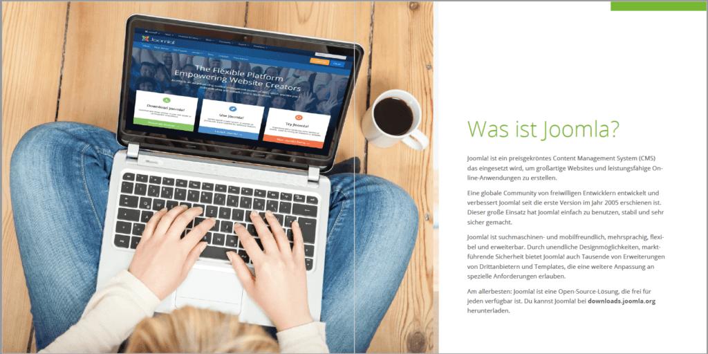 Was ist Joomla!? Joomla wird hier als Plattform und nicht als CMS verkauft.