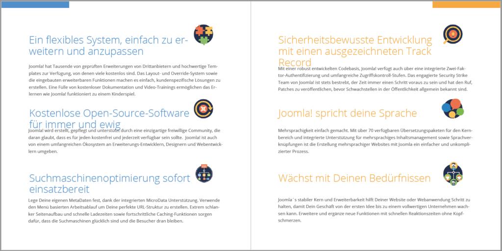 Die berühmten USP's und wie sie bei Joomla! herausgestrichen werden