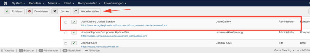 JoomGallery Update-Pfad im Erweiterungen-Manager